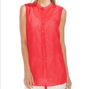 VINCE CAMUTO RED STRIPE BLOCK HENELY TUNIC